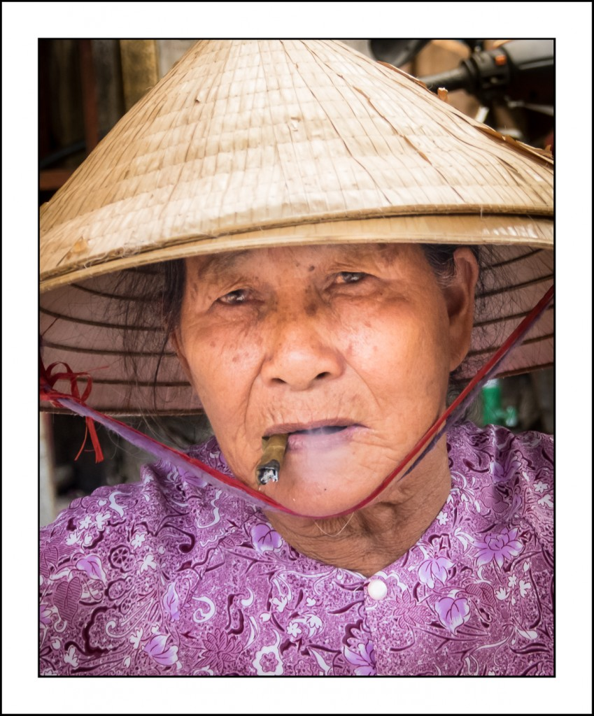 Vietnamese woman smoking